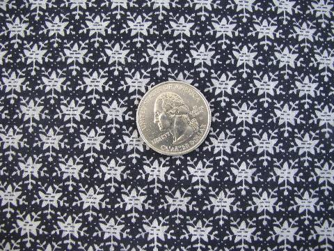 Vintage cotton sewing material tiny black white floral print quilting fabric