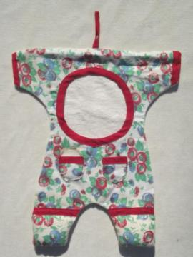 vintage cotton sewing / mending bag, flowered print rompers on hanger!