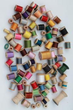 vintage cotton sewing thread lot, 80 wood spools with a rainbow of threads