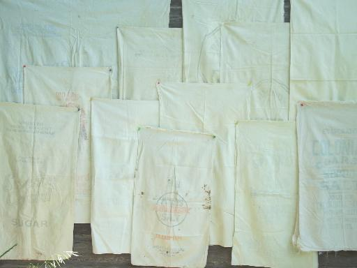 vintage cotton sugar & flour sacks, old feedsack fabric w/ faded printing