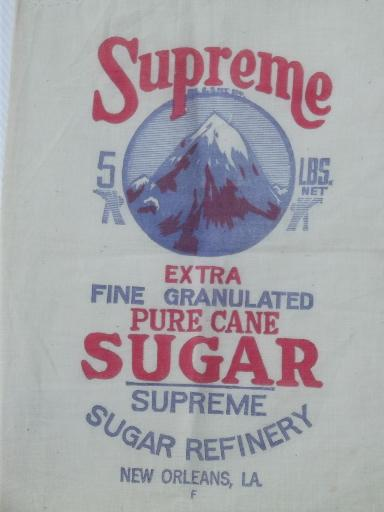 vintage cotton sugar sack, feedsack fabric w/ stamped to embroider design