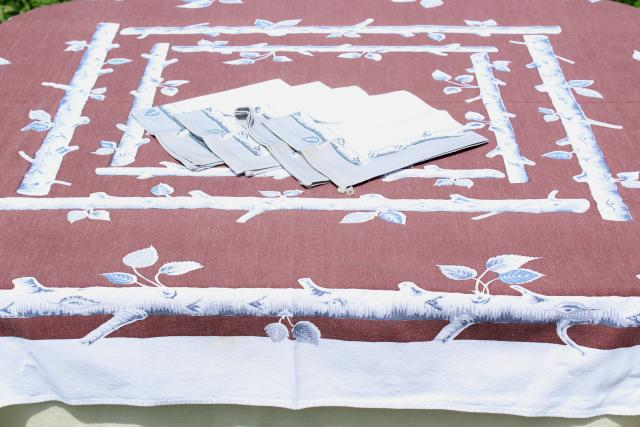 vintage cotton tablecloth, rustic woodland birch log print table cloth for camp or cabin