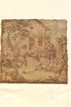 vintage cotton tapestry panel, picture or pillow top - french country antique faded colors