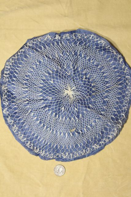 vintage cotton thread lace doilies, Madeira cobweb fine hairpin lace