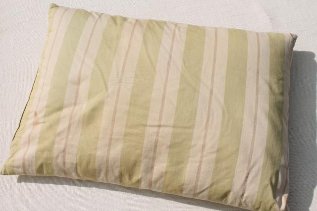 vintage cotton ticking pillows, pair of large feather filled bed pillows