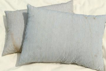 vintage cotton ticking stripe pillows, large heavy feather filled bed pillows