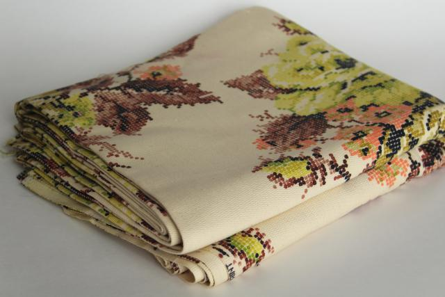 vintage cotton upholstery fabric, cross stitch print floral brown, blush pink, lime green