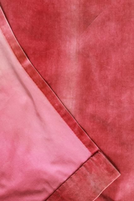 cotton velveteen salvaged antique curtains, old rose pink velvet ...