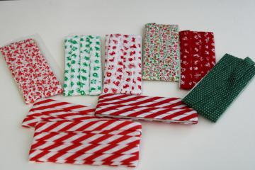 vintage cotton/poly seam binding tape Christmas red & green holiday prints sewing trim