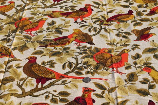 vintage country french game birds partridge quail print cotton decorator fabric - Decorator Fabric