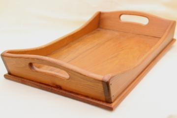 vintage country pine tray, colonial style table box or serving tray