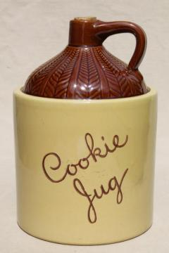 vintage country primitive Cookie Jug cookie jar crock, Monmouth Western stoneware pottery