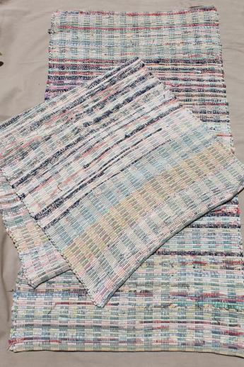 vintage country primitive cotton rugs, woven rag rug kitchen ...