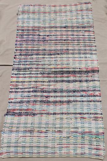 vintage country primitive cotton rugs, woven rag rug kitchen or porch runner rugs