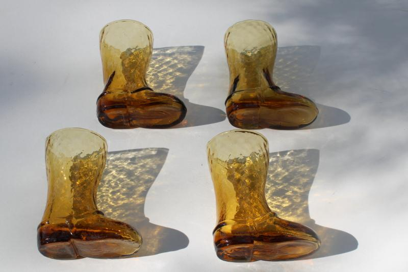 vintage cowboy boot figural amber glass drinking glasses, retro western style barware