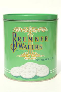 vintage cracker tin, mint green canister for Bremner Biscuit butter wafers crackers