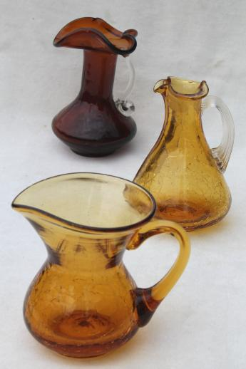 vintage crackle glass pitcher lot, collection of amber glass mini pitchers