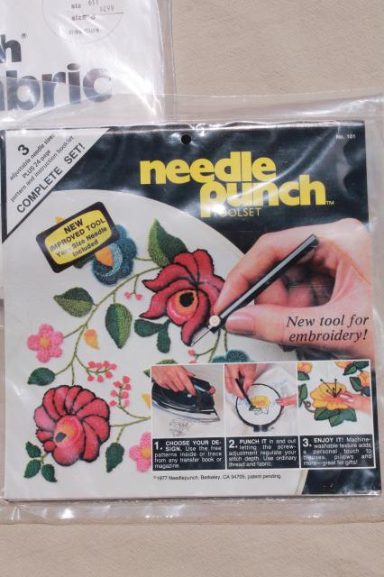vintage craft supplies - punch needle embroidery tool, fabric, needlework kit