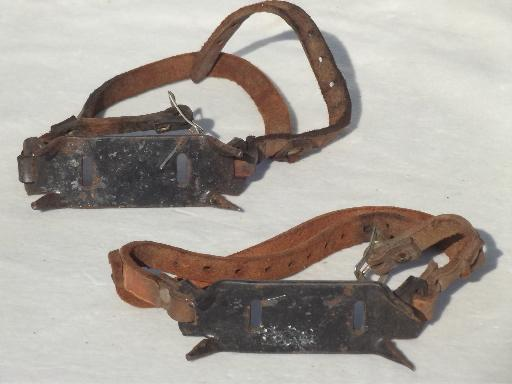 Vintage Crampons Old Steel Boot Cleats For Walking On Ice