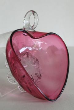 vintage cranberry glass, hand blown glass heart shape bowl nappy w/ clear glass feet