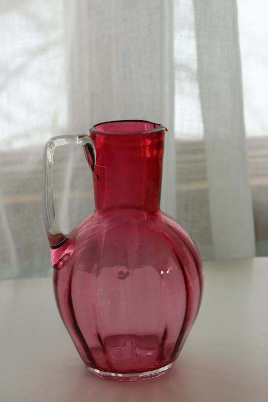 vintage cranberry glass pitcher, hand blown panel optic pattern glass