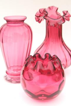 vintage cranberry glass trio of vases, instant collection flower vase grouping