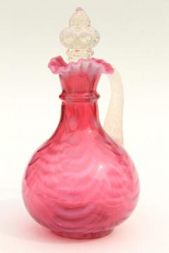 vintage cranberry opalescent glass cruet bottle, swag drape pattern glass