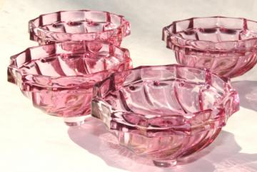 vintage cranberry stain glass candle cups, Victrylite pressed glass bobeches
