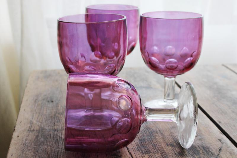 vintage cranberry stained glass goblets, big wine glasses or water glasses