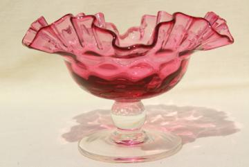 vintage cranberry thumbprint glass candy dish w/ crimped edge, clear glass stem