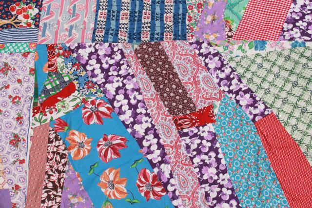 vintage crazy quilt w/ all cotton prints, fun cottage style bohemian retro bed cover