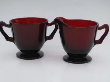 vintage creamer and sugar set, Royal Ruby red glass cream pitcher and bowl