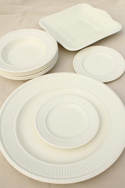vintage creamware all cream white English Wedgwood Edme china soup bowls & serving trays