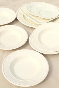 vintage creamware all cream white English Wedgwood Edme china soup bowls & serving trays