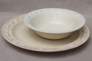 vintage creamware china cake plate & bowl w/ Della Robbia border, Adams - England Titian Ware