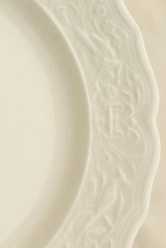 vintage creamware china plates, Vogue embossed border Mount Clemens pottery