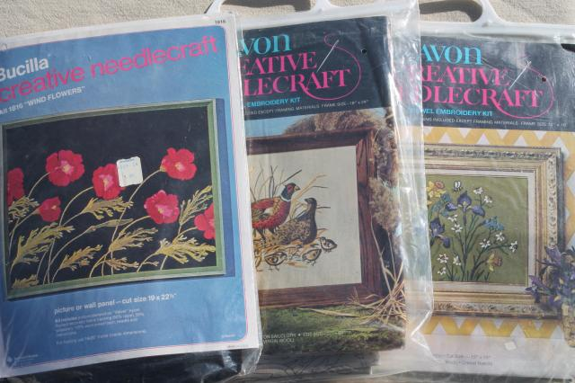 Vintage Creative Needlecraft Crewel Embroidery Kits W Wool Yarn