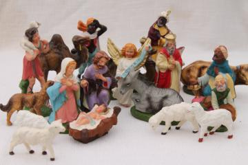 vintage creche figures, assorted animals for Nativity scene or Christmas putz village