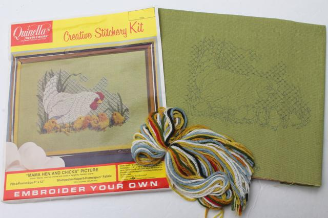 vintage crewel embroidery kit w/ stamped fabric & yarn, mama hen & baby chicks chickens