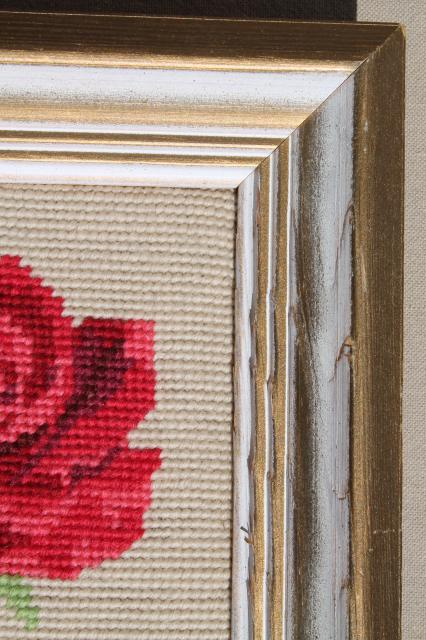 vintage crewel wool needlepoint picture, pink rose & rosebuds framed needlework