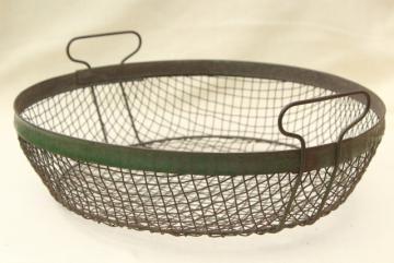 vintage crimped wire basket, rustic kitchen colander / strainer or egg basket