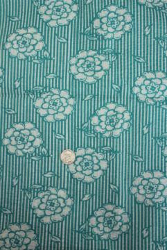 vintage crinkle cotton plisse, cool lightweight fabric w/ retro turquoise print