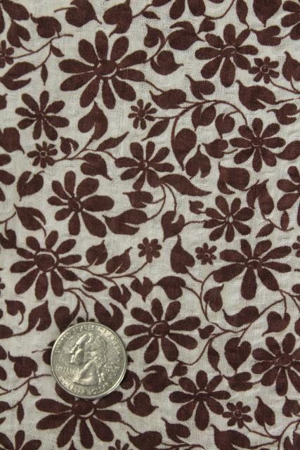 vintage crinkle cotton plisse, lightweight airy fabric flower print in brown & white