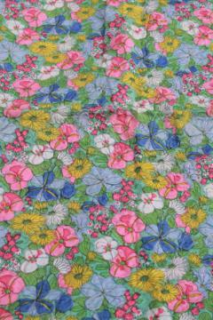 vintage crinkle pucker texture lightweight poly 'silk' fabric, english garden print