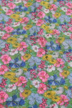 vintage crinkle pucker texture lightweight poly 'silk' fabric, english garden print