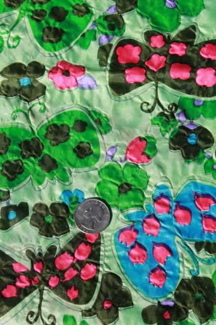 vintage crinkle pucker texture lightweight poly 'silk' fabric, retro butterfly print