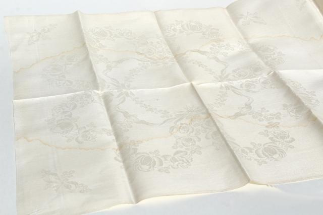 vintage crisp linen damask fabric, unused towels or napkins by the yard to cut & sew