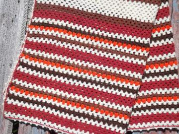 vintage crochet acrylic afghan, stripes in orange, indian blanket red