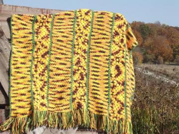 vintage crochet afghan blanket, soft and cozy autumn harvest colors