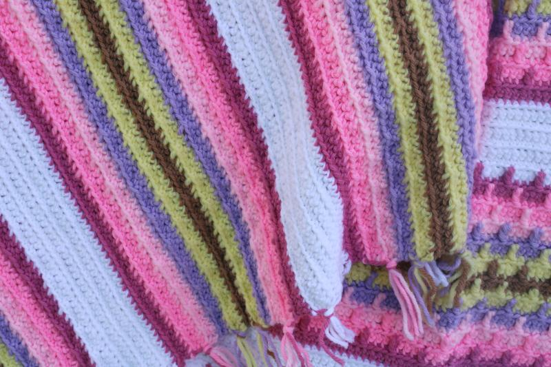 vintage crochet afghan blanket, southwest style sunset colors pink lavender yellow w/ white
